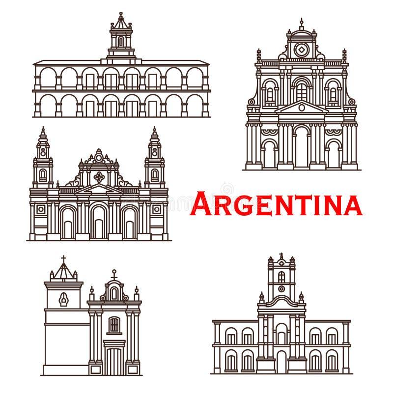 Linea icone di vettore delle costruzioni dei punti di riferimento dell'Argentina illustrazione di stock