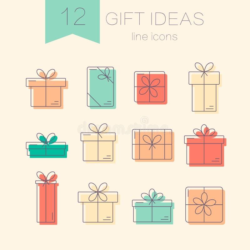 Linea icone di vettore di contenitori di regalo illustrazione vettoriale