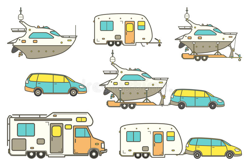 Linea icone di viaggio illustrazione vettoriale