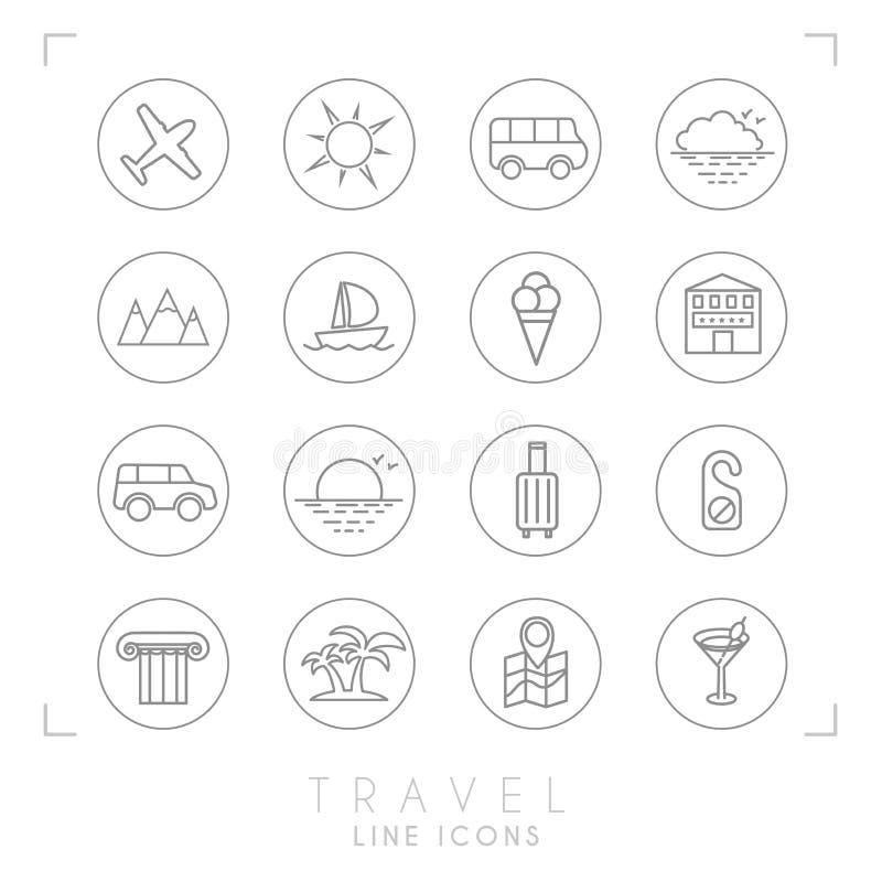 Linea icone di viaggio del profilo messe nei cerchi L'aeroplano, sole, bus, orizzonte della nuvola, montagne, yacht, hotel, autom illustrazione vettoriale