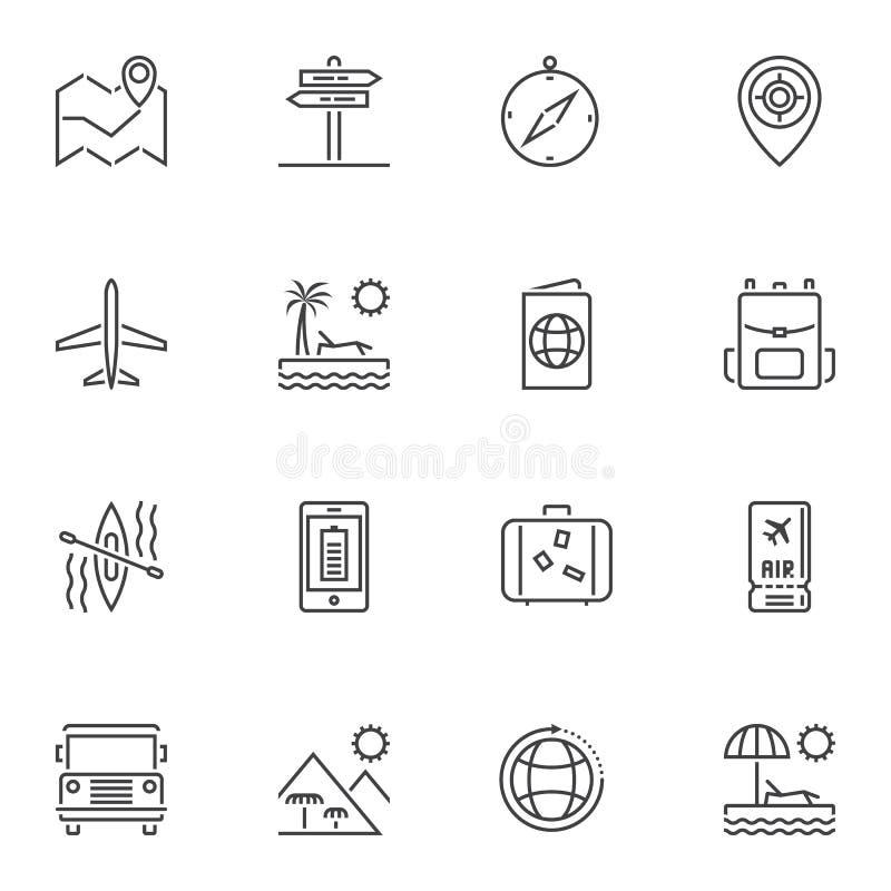 linea icone di viaggio messe illustrazione di stock