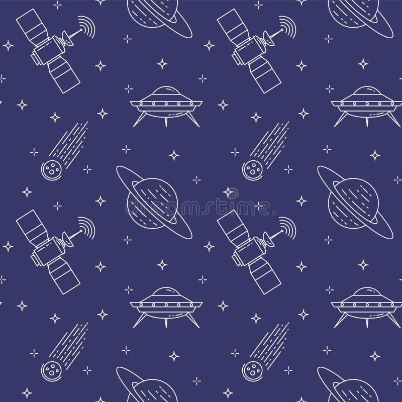 Linea icone di viaggio nello spazio Elementi del UFO, cometa, pianeta, satellite Reticolo senza giunte illustrazione di stock