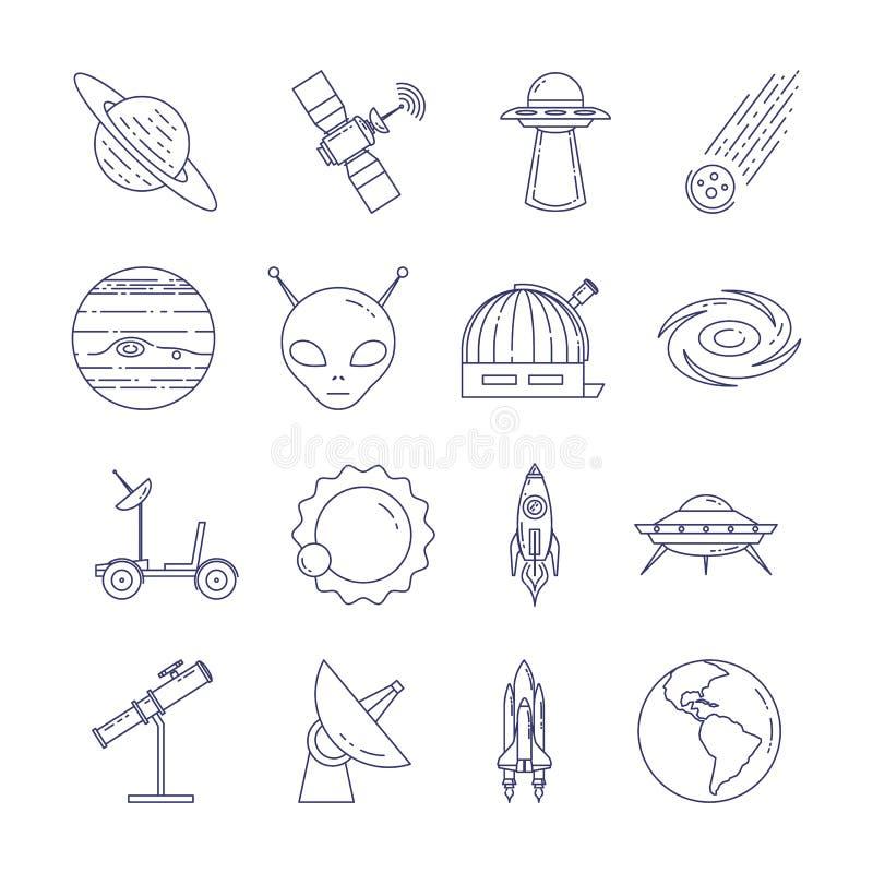 Linea icone di viaggio nello spazio Insieme degli elementi dei pianeti, delle astronavi, del UFO, del satellite, del cannocchiale royalty illustrazione gratis