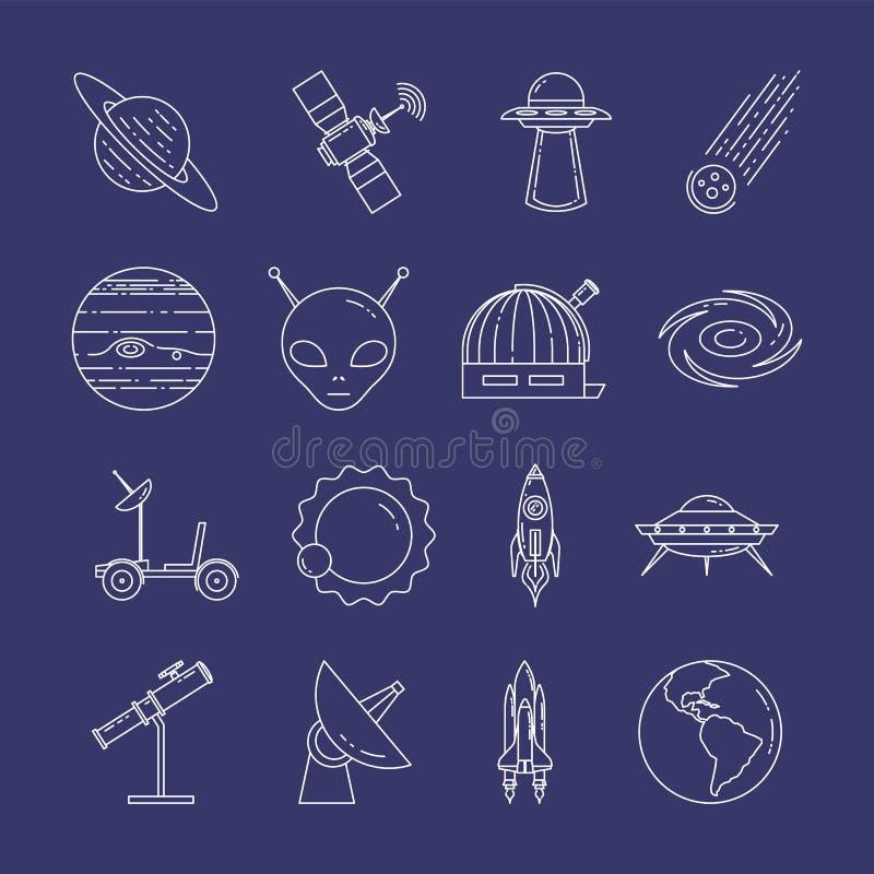 Linea icone di viaggio nello spazio Insieme degli elementi dei pianeti, delle astronavi, del UFO, del satellite, del cannocchiale illustrazione di stock