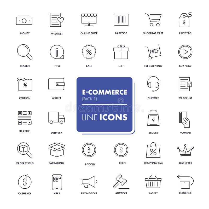 Linea icone messe Commercio elettronico illustrazione vettoriale