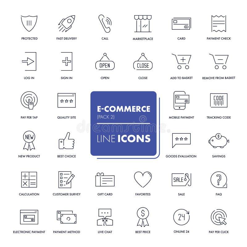 Linea icone messe Commercio elettronico royalty illustrazione gratis