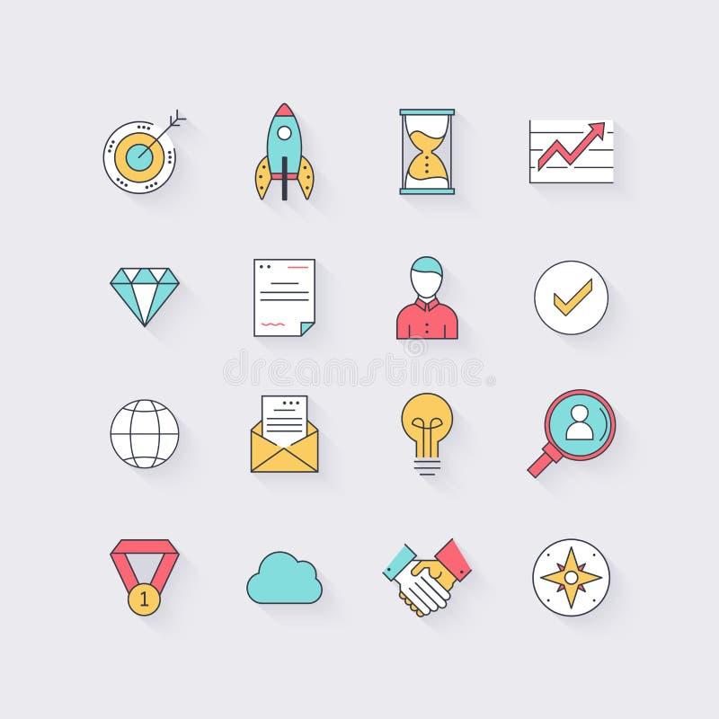 Linea icone messe nella progettazione piana Elementi dell'affare, partenza, Ti illustrazione di stock