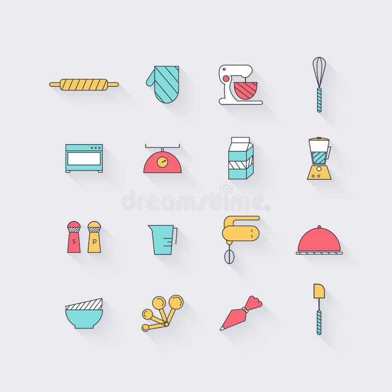 Linea icone messe nella progettazione piana Elementi di cottura gli alimenti e del corredo illustrazione vettoriale