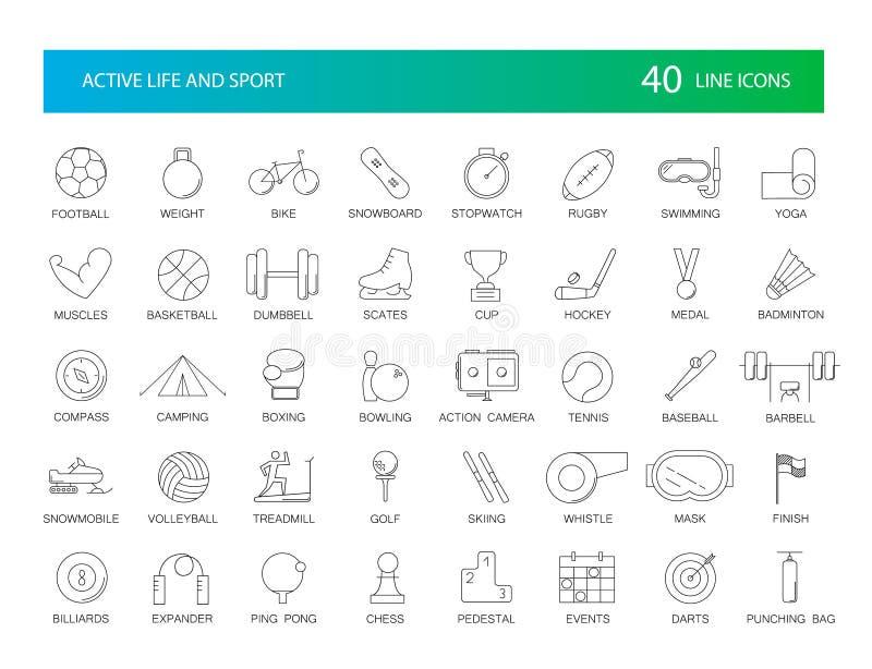 Linea icone messe Pacchetto attivo di sport e di vita royalty illustrazione gratis