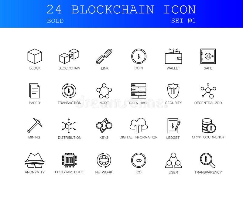 Linea icone messe Pacchetto di Blockchain royalty illustrazione gratis