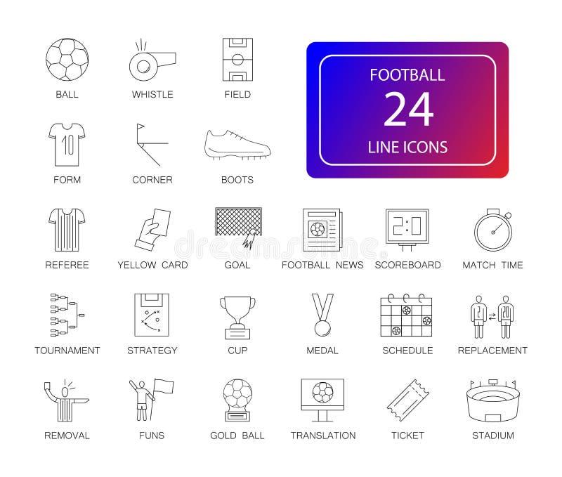 Linea icone messe Pacchetto di calcio royalty illustrazione gratis