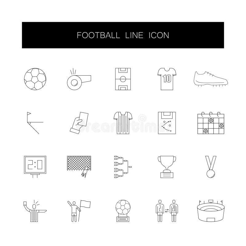Linea icone messe Pacchetto di calcio illustrazione vettoriale