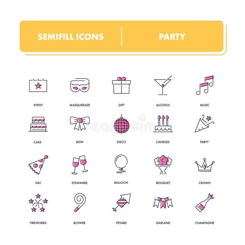 Linea icone messe Partito illustrazione vettoriale