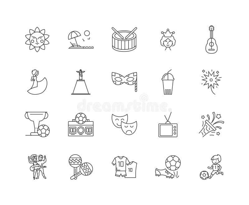 Linea icone, segni, insieme di vettore, concetto del Brasile dell'illustrazione del profilo illustrazione di stock
