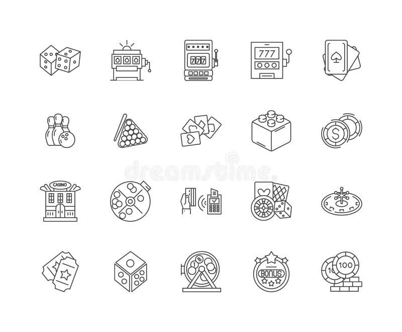 Linea icone, segni, insieme di vettore, concetto del casinò di gioco dell'illustrazione del profilo illustrazione di stock
