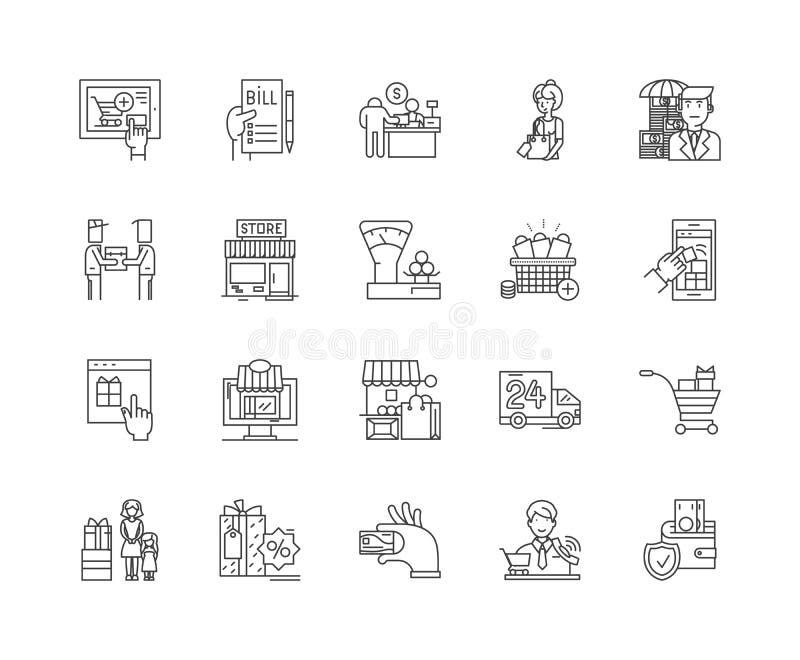 Linea icone, segni, insieme di vettore, concetto del commercio equo e solidale dell'illustrazione del profilo royalty illustrazione gratis