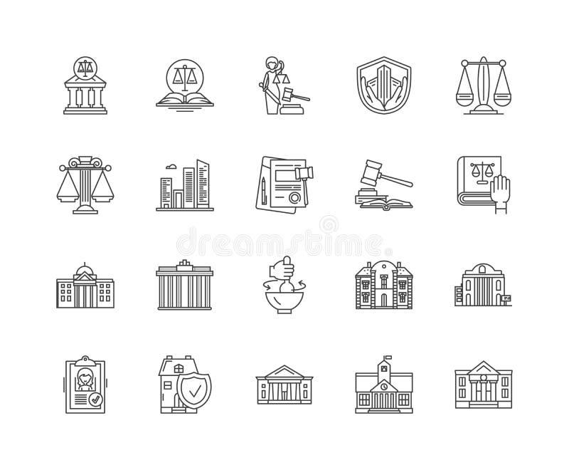 Linea icone, segni, insieme di vettore, concetto del tribunale dell'illustrazione del profilo illustrazione vettoriale