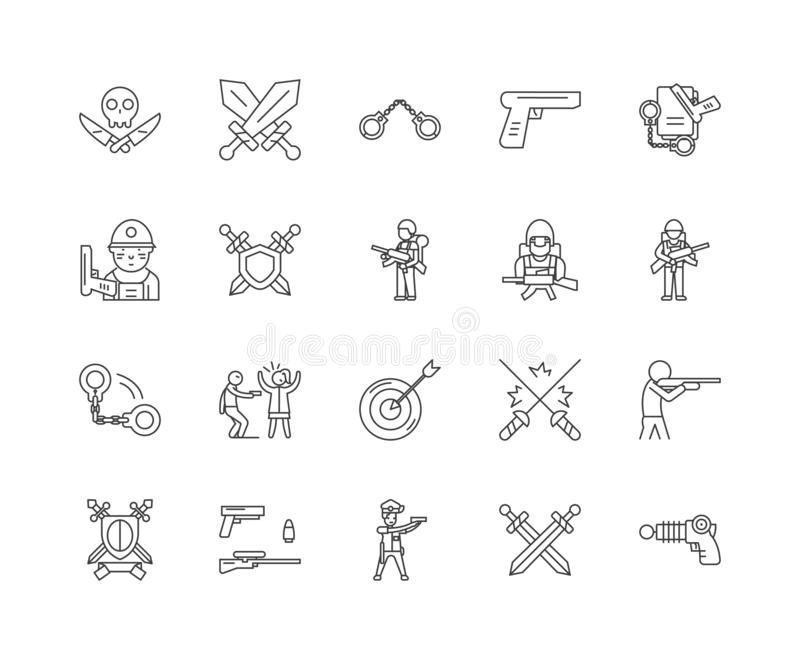 Linea icone, segni, insieme di vettore, concetto dell'armaiolo dei commercianti di pistola dell'illustrazione del profilo illustrazione vettoriale