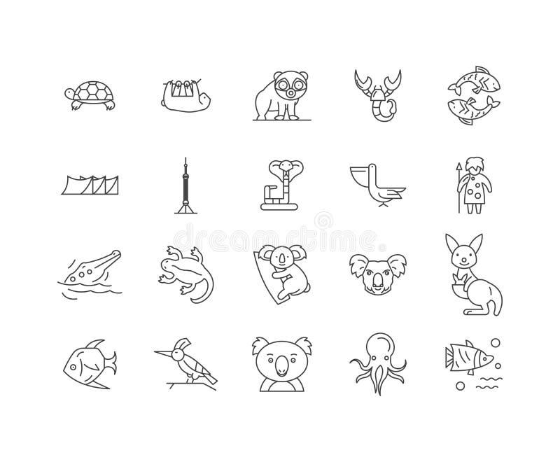 Linea icone, segni, insieme di vettore, concetto dell'Australia dell'illustrazione del profilo illustrazione vettoriale