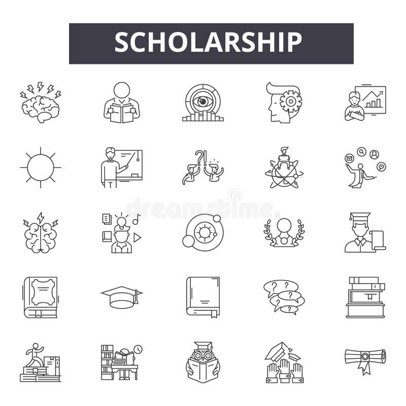 Linea icone, segni, insieme di vettore, concetto della borsa di studio dell'illustrazione del profilo royalty illustrazione gratis