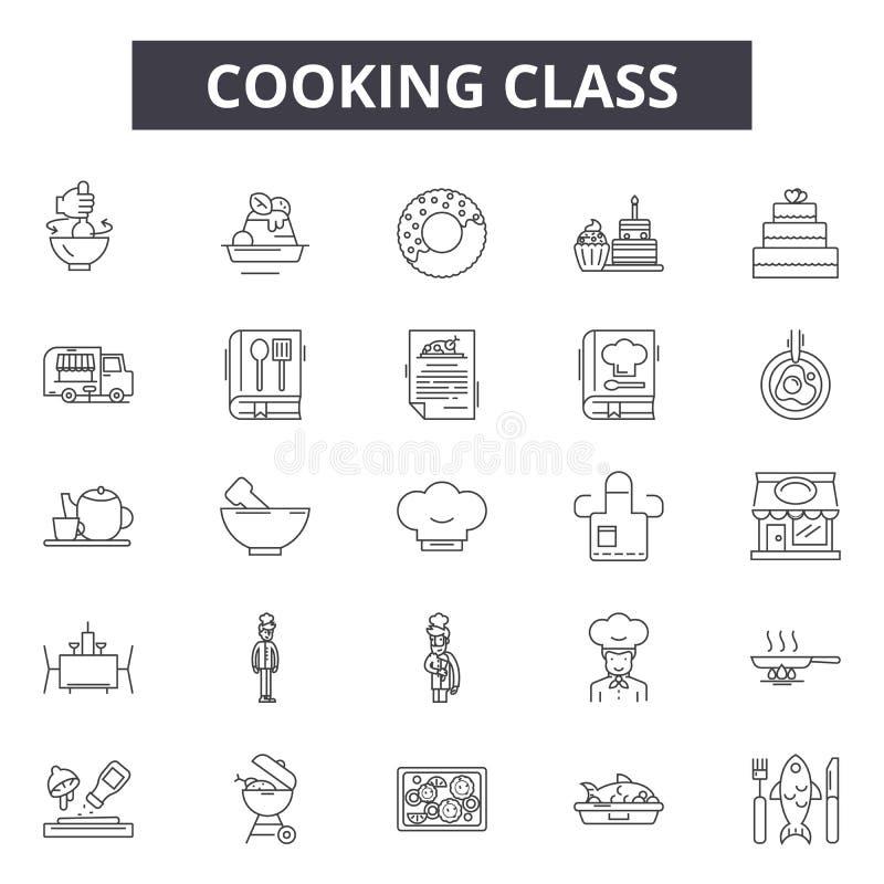 Linea icone, segni, insieme di vettore, concetto della classe di cottura dell'illustrazione del profilo illustrazione vettoriale