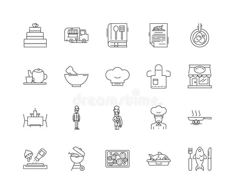 Linea icone, segni, insieme di vettore, concetto della classe di cottura dell'illustrazione del profilo royalty illustrazione gratis