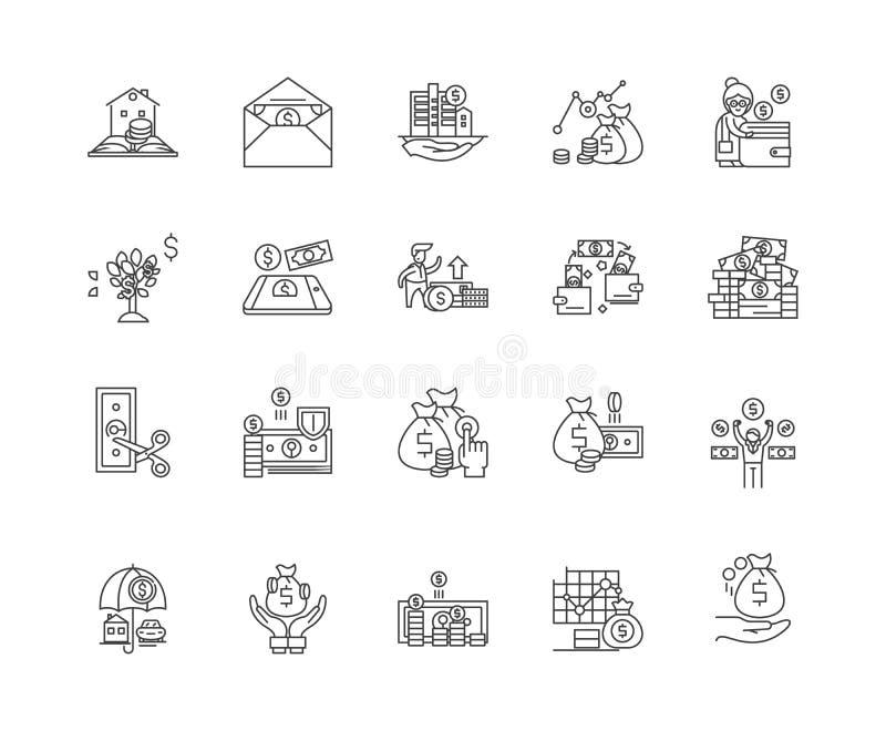 Linea icone, segni, insieme di vettore, concetto della cooperativa di credito dell'illustrazione del profilo illustrazione di stock