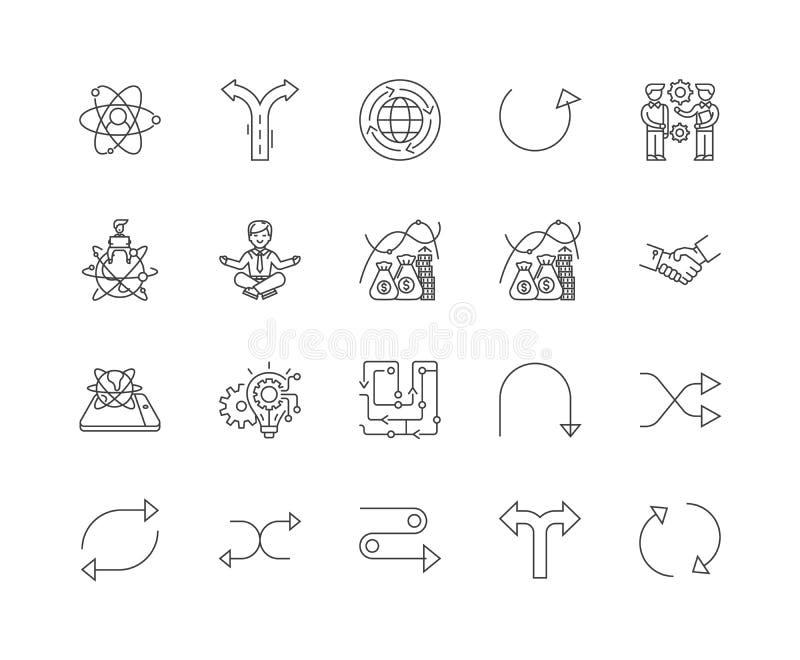 Linea icone, segni, insieme di vettore, concetto di flessibilità dell'illustrazione del profilo royalty illustrazione gratis