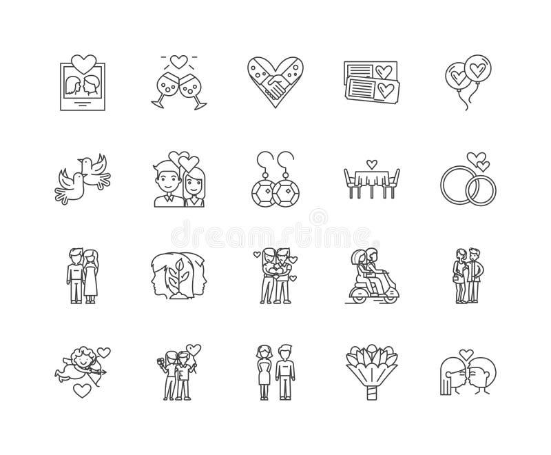 Linea icone, segni, insieme di vettore, concetto di impegno dell'illustrazione del profilo royalty illustrazione gratis