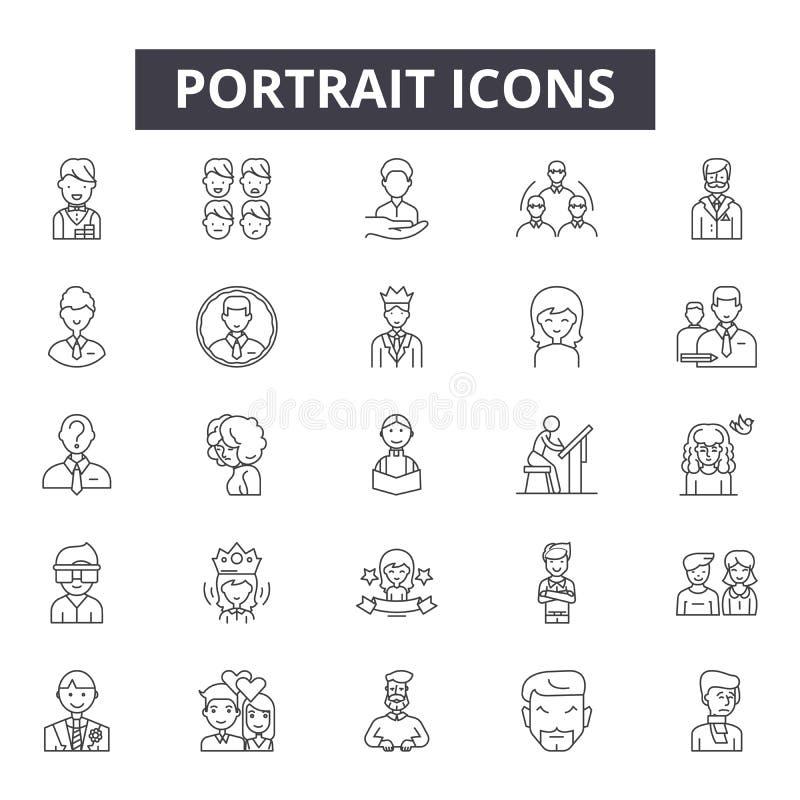 Linea icone, segni, insieme di vettore, concetto lineare, illustrazione del ritratto del profilo royalty illustrazione gratis
