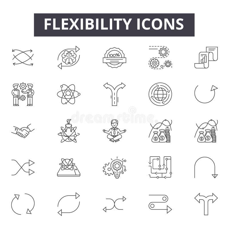 Linea icone, segni, insieme di vettore, concetto lineare, illustrazione di flessibilità del profilo royalty illustrazione gratis