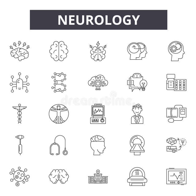 Linea icone, segni, insieme di vettore, concetto di neurologia dell'illustrazione del profilo illustrazione vettoriale