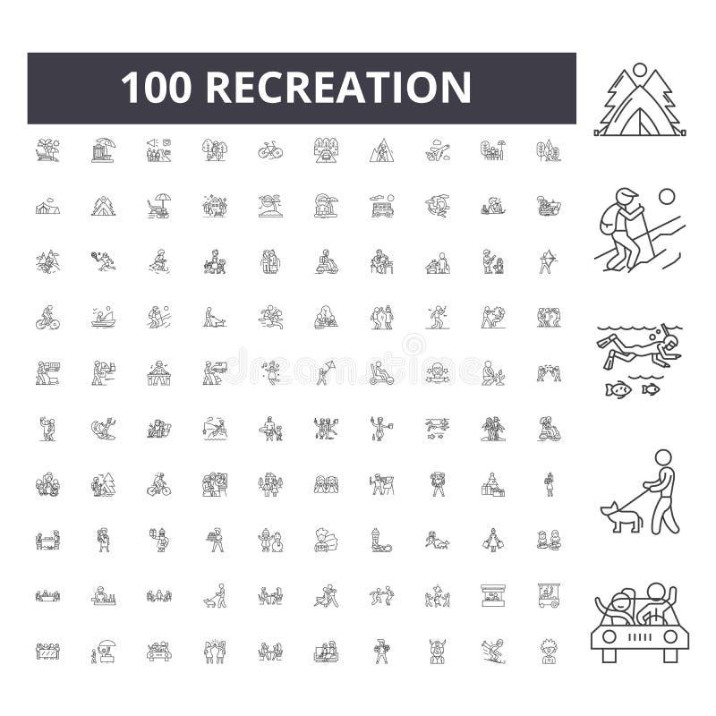 Linea icone, segni, insieme di vettore, concetto di ricreazione dell'illustrazione del profilo royalty illustrazione gratis