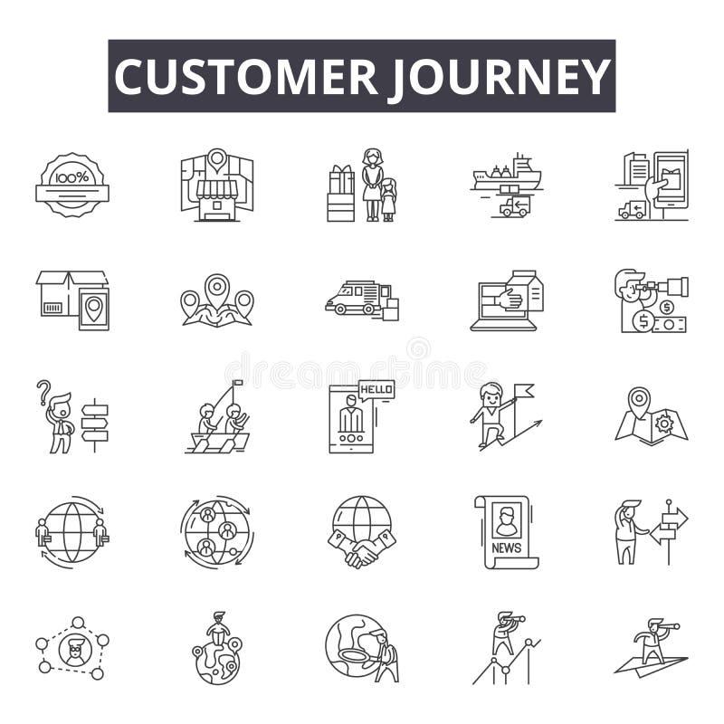 Linea icone, segni, insieme di vettore, concetto di viaggio del cliente dell'illustrazione del profilo illustrazione vettoriale