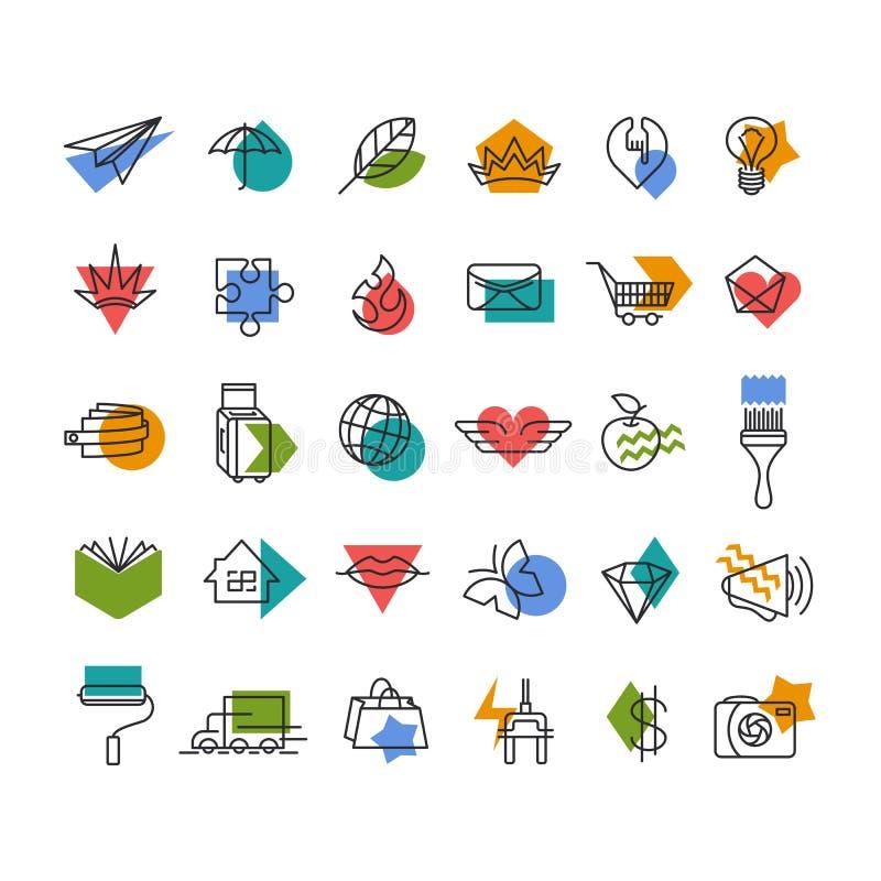 Linea icons& x27 di vettore; metta con gli accenti geometrici illustrazione vettoriale