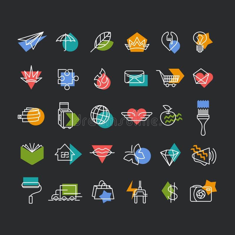 Linea icons& x27 di vettore; metta con gli accenti geometrici di colore illustrazione vettoriale