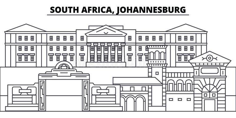 Linea illustrazione del Sudafrica, Johannesburg di vettore dell'orizzonte Paesaggio urbano lineare del Sudafrica, Johannesburg co illustrazione di stock