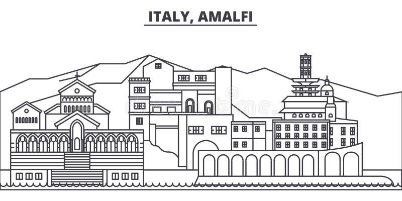 Linea illustrazione dell'Italia, Amalfi di vettore dell'orizzonte Paesaggio urbano lineare con i punti di riferimento famosi, vis royalty illustrazione gratis