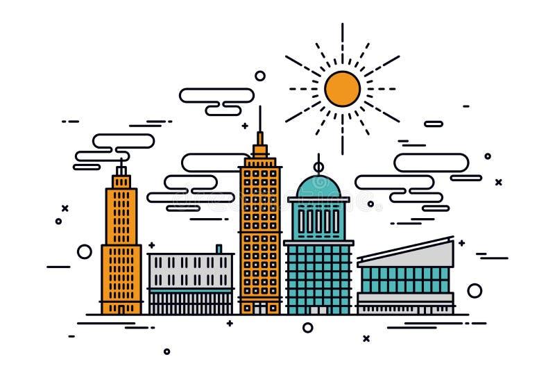 Linea illustrazione della città di affari di stile royalty illustrazione gratis