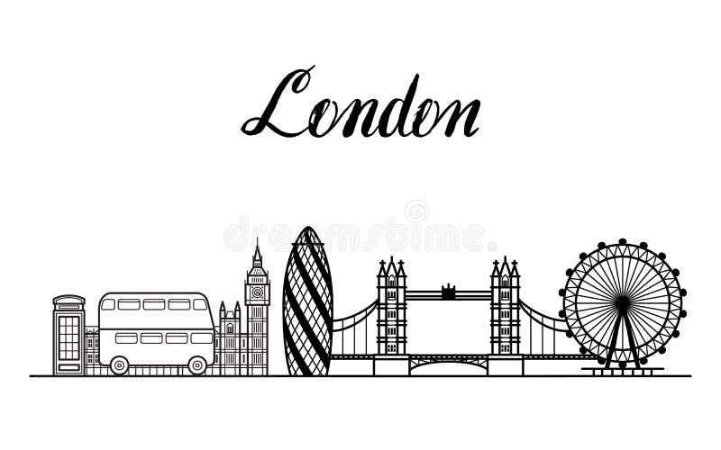 Linea illustrazione della città di Londra di arte con iscrizione moderna illustrazione di stock