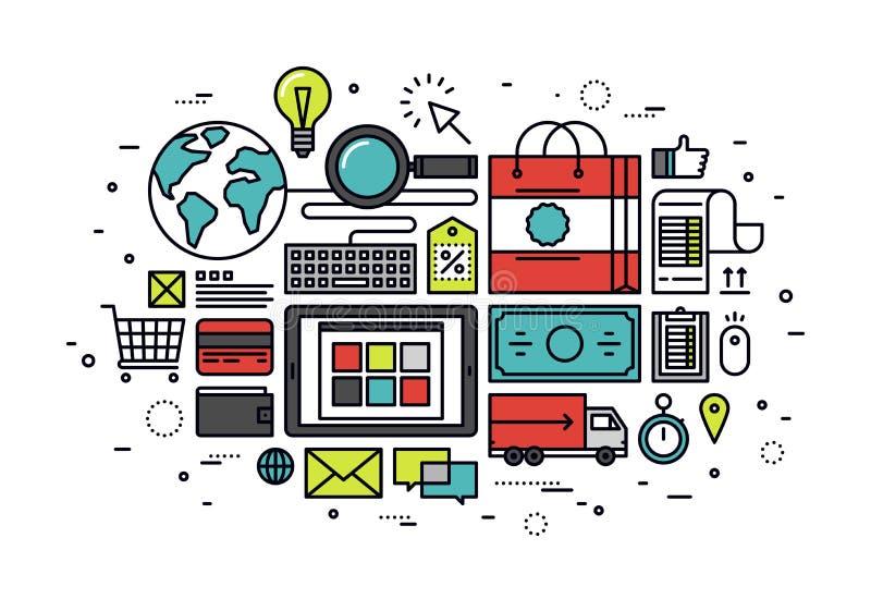 Linea illustrazione di acquisto di commercio elettronico di stile illustrazione vettoriale