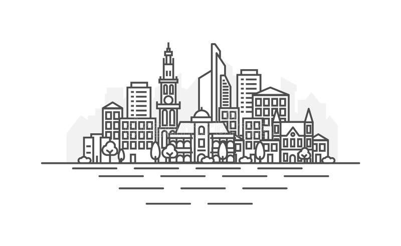 Linea illustrazione di architettura di Anversa, Belgio dell'orizzonte Paesaggio urbano lineare con i punti di riferimento famosi, illustrazione vettoriale