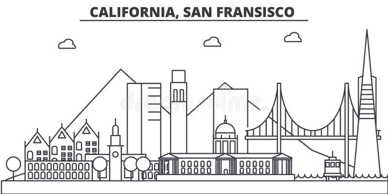 Linea illustrazione di architettura di California, San Francisco dell'orizzonte Paesaggio urbano lineare con i punti di riferimen royalty illustrazione gratis