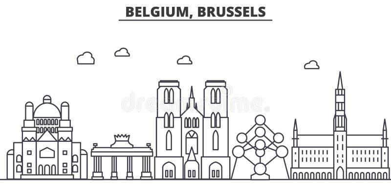 Linea illustrazione di architettura del Belgio, Bruxelles dell'orizzonte Paesaggio urbano lineare con i punti di riferimento famo illustrazione di stock