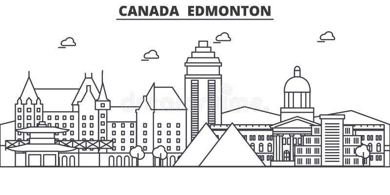 Linea illustrazione di architettura del Canada, Edmonton dell'orizzonte Paesaggio urbano lineare con i punti di riferimento famos illustrazione di stock