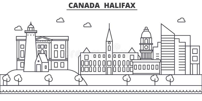 Linea illustrazione di architettura del Canada, Halifax dell'orizzonte Paesaggio urbano lineare con i punti di riferimento famosi royalty illustrazione gratis