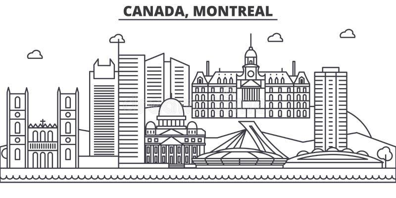 Linea illustrazione di architettura del Canada, Montreal dell'orizzonte Paesaggio urbano lineare con i punti di riferimento famos royalty illustrazione gratis