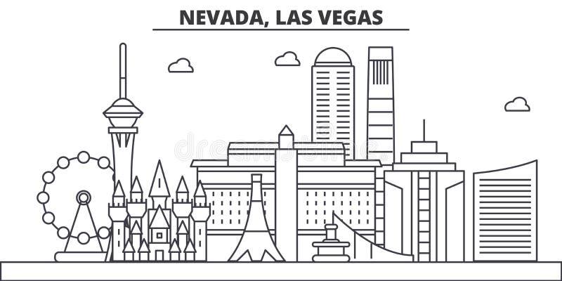 Linea illustrazione di architettura del Nevada, Las Vegas dell'orizzonte Paesaggio urbano lineare con i punti di riferimento famo royalty illustrazione gratis