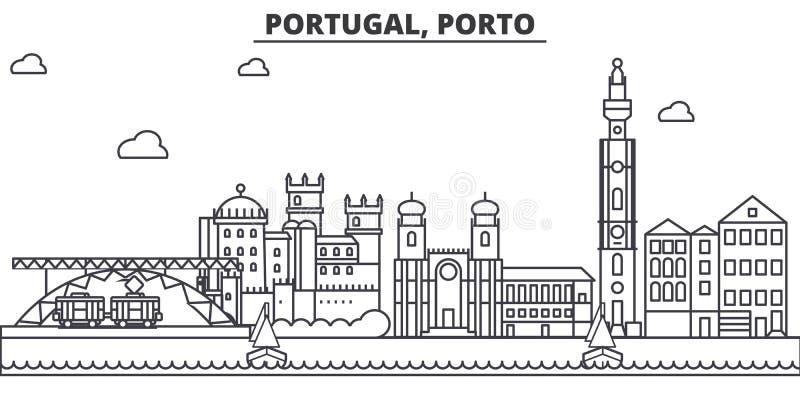Linea illustrazione di architettura del Portogallo, Oporto dell'orizzonte Paesaggio urbano lineare con i punti di riferimento fam illustrazione di stock