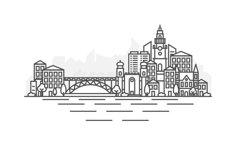 Linea illustrazione di architettura del Portogallo, Oporto dell'orizzonte Paesaggio urbano lineare con i punti di riferimento fam royalty illustrazione gratis